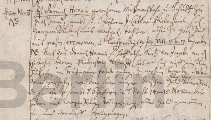Name:  1715-11-24_Sterbeeintrag Hanau, Daniel (KB Gr. Zünder).jpg Hits: 147 Größe:  60.3 KB