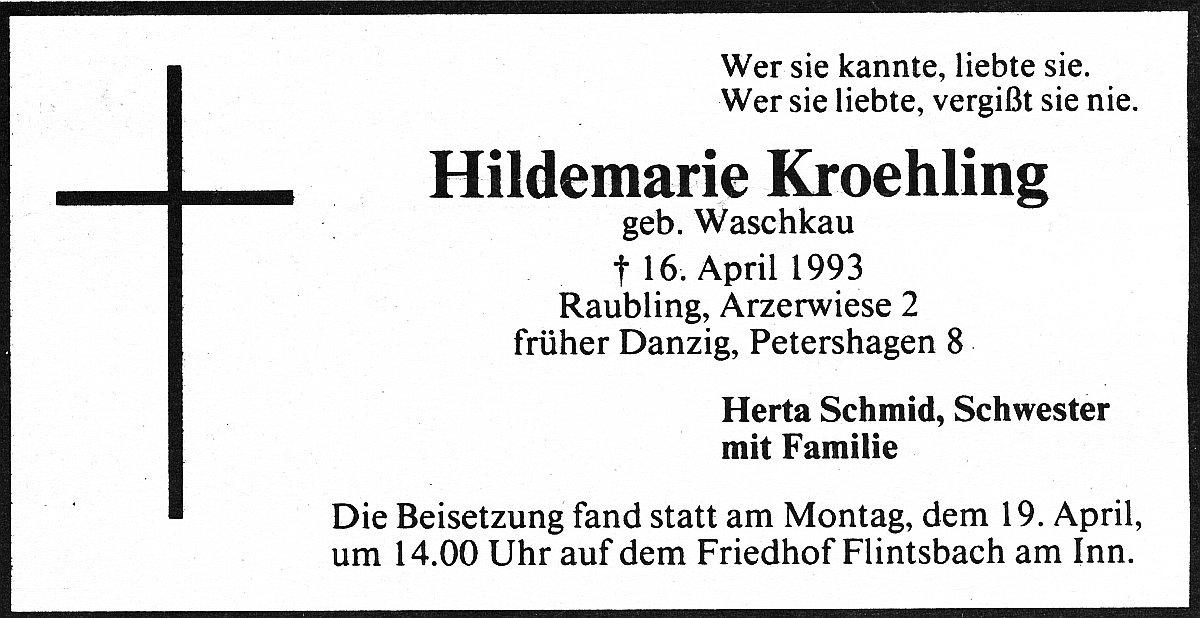Name:  UD 19932020 Sterbeanzeige Hildemarie Kroehling.jpg Hits: 285 Größe:  131.3 KB