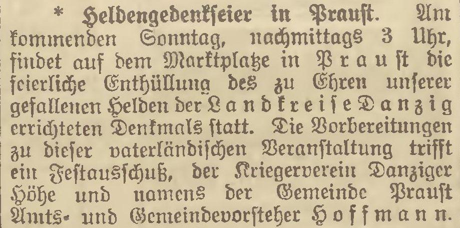 Name:  1922-08-21_DAZ - Praust-Kriegerdenkmal-1.jpg Hits: 166 Größe:  112.5 KB