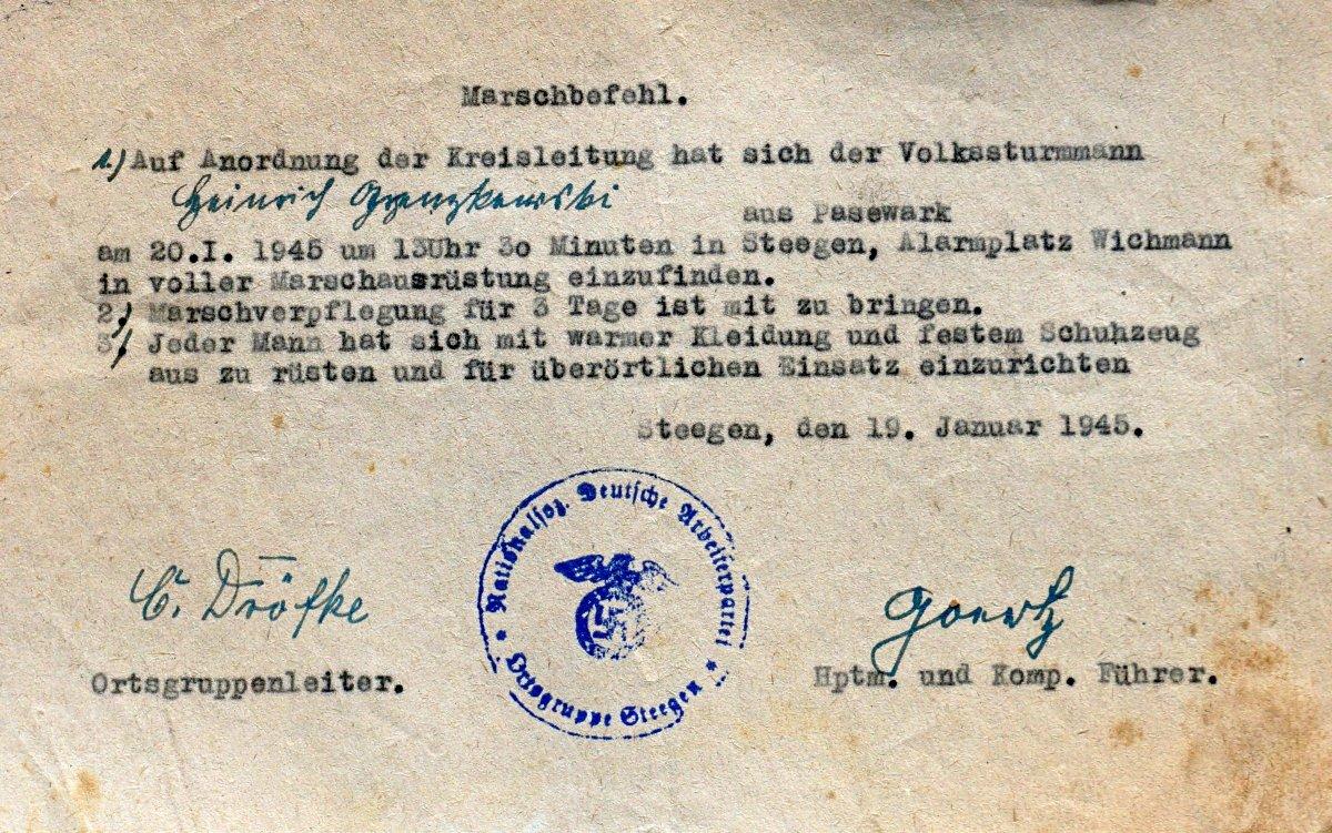 Name:  19440119 SA606579 Steegen Marschbefehl Grzenkowski.jpg Hits: 273 Größe:  296.3 KB