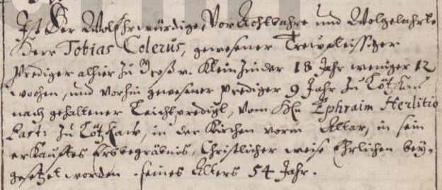 Name:  1676-01-16_Begräbniseintrag Colerus, Tobias - extract (KB Gr. Zünder).jpg Hits: 112 Größe:  42.2 KB