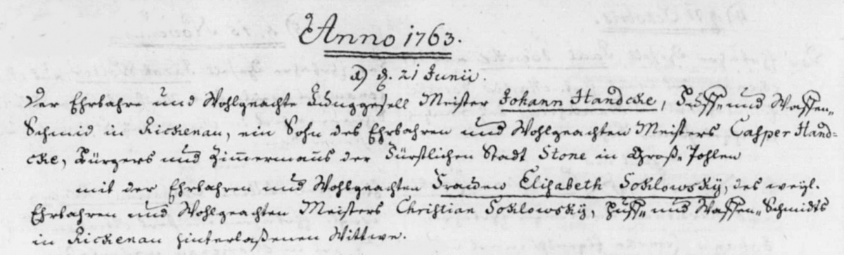 Name:  435 - 1763-06-21_Heiratseintrag Handcke, Johann-Soklowsky, Elisabeth (KB Marienau).jpg Hits: 320 Größe:  130.3 KB