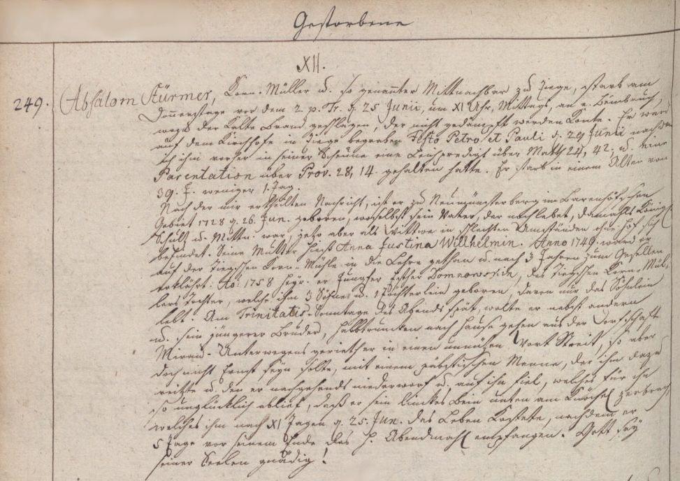Name:  1767-06-25_Sterbeeintrag Störmer, Absalon (KB Ladekopp).jpg Hits: 240 Größe:  141.4 KB